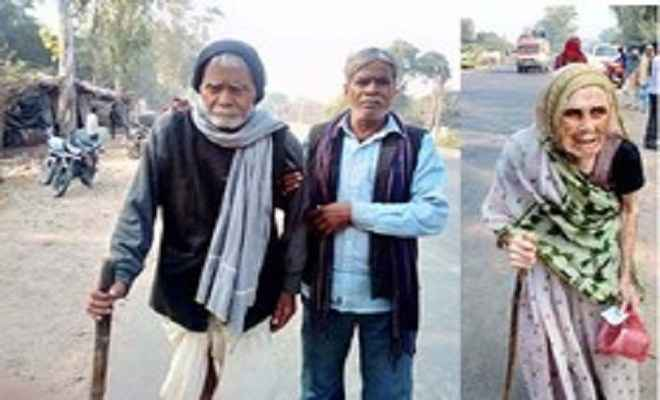 बूथों तक लाठी के सहारे पैदल पहुंचे बुजुर्ग मतदाता