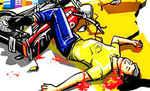 कोटवा में पिकअप की ठोकर से बाइक सवार की मौत, लगा जाम