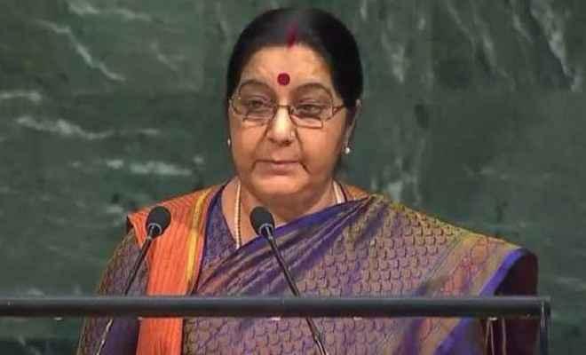 पाक की पहचान आतंकी देश के रूप में : विदेश मंत्री सुषमा स्वराज