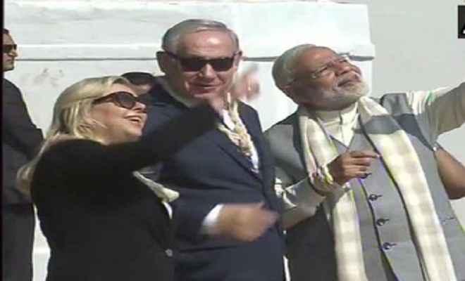 गांधी आश्रम में, इजराइल और भारत के प्रधानमंत्री ने उड़ाई पतंग