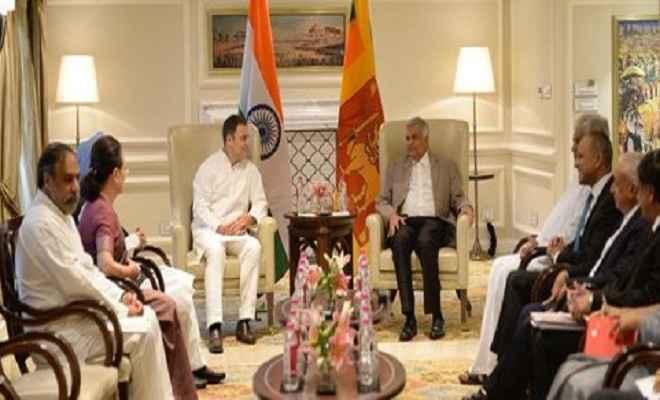 कांग्रेस अध्यक्ष राहुल गांधी, सोनिया ने की श्रीलंका के प्रधानमंत्री विक्रमसिंघे से मुलाकात