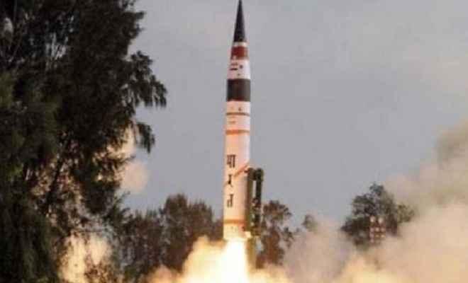 भारत ने अग्नि 5 मिसाइल का किया सफल प्रायोगिक परीक्षण