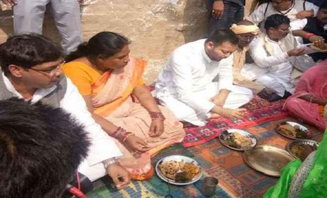 तपस्वी यादव ने दलितों के घर खायी साग-रोटी, कहा-इस अहंकारी सरकार को खत्म करना है