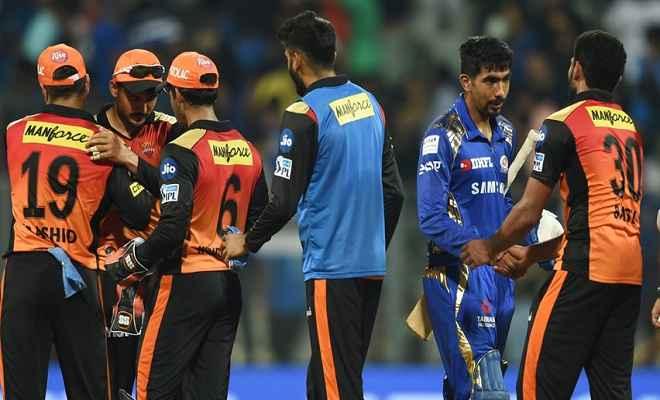 आइपीएल 2018 : सनराइजर्स हैदराबाद ने मुंबई इंडियंस को 31 रनों से हराया