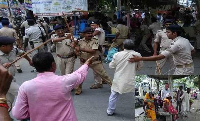 आंदोलन कर रहे विस्थापितों पर पुलिस ने बरसायीं लाठियां, दर्जनों घायल