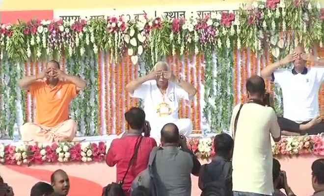 राज्यपाल राम नाईक संग योगी, राजनाथ ने किया योग