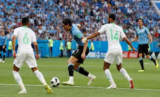 नॉकआउट में पहुंचा उरुग्वे, सऊदी अरब को 1-0 से हराया