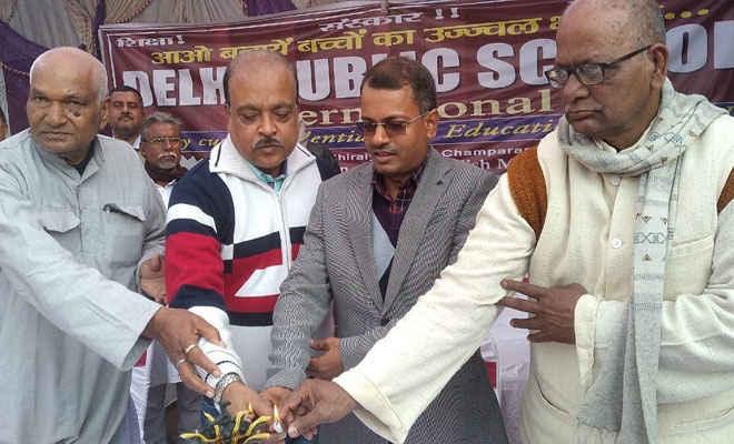 सुशील का अभियान - सिकरहना एसडीओ व पूर्व विधायक ने स्कूल में लगाए चंपा के पौधे