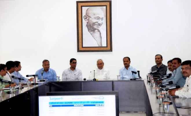 आपदा प्रबंधन विभाग की बैंक में मुख्यमंत्री नीतीश ने कहा- बाढ़ प्रभावित परिवारों को मिलेंगे 6000 रुपए