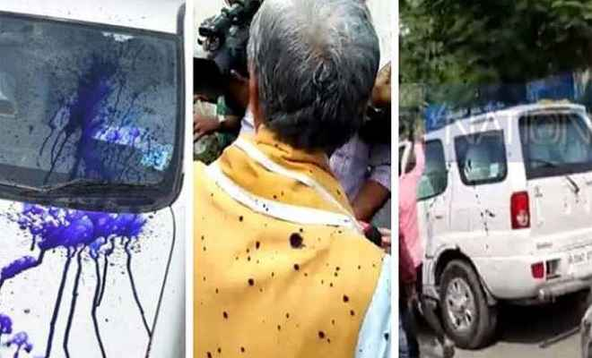 पीएमसीएच पहुंचे केंद्रीय मंत्री अश्विनी चौबे पर युवक ने फेंकी स्याही, मौके से हुआ फरार