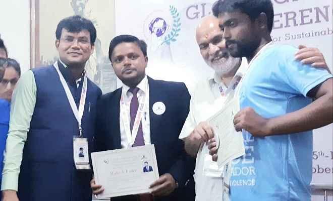 रक्सौल के मुकेश कुमार को मिला ग्लोबल पीस अवार्ड
