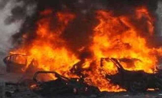 टीएसपीसी उग्रवादियों ने छह गाड़ियों में लगाई आग, क्षेत्र में दहशत का माहौल