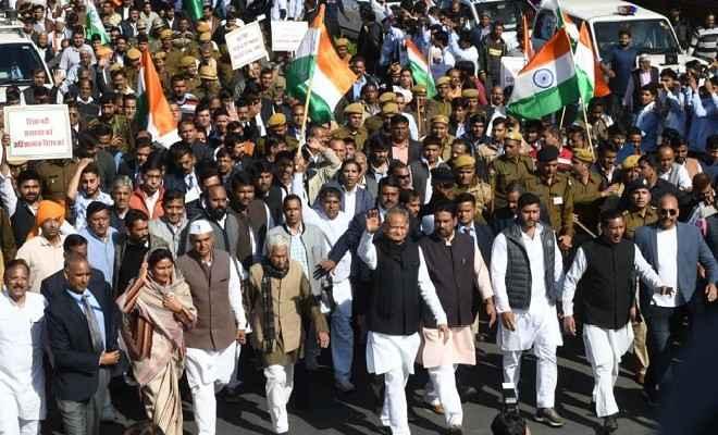 जयपुर में नागरिकता संशोधन अधिनियम व नागरिक रजिस्टर के विरोध में गहलोत सरकार ने निकाला शांति मार्च