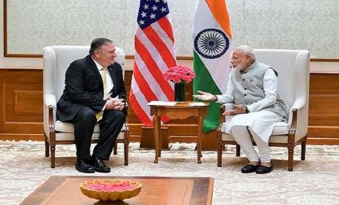 अमेरिकी विदेश मंत्री माइक पॉम्पियो ने की प्रधानमंत्री मोदी और विदेश मंत्री से की मुलाकात