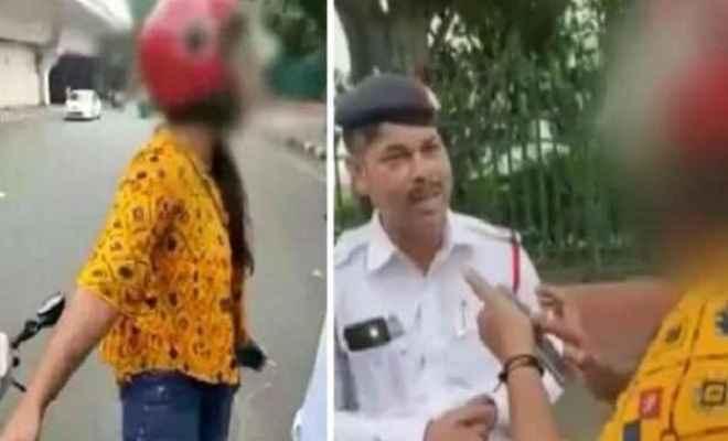 दिल्ली में लड़की हाईवोल्टेज ड्रामा चालान काटने पर दी सुसाइड की धमकी