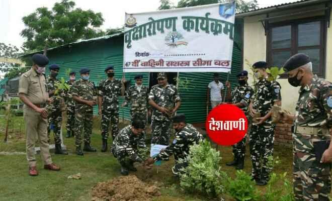 विश्व पर्यावरण दिवस के अवसर पर सीमा पर तैनात जवानों सहित कमाण्डेन्ट प्रियवर्त शर्मा ने वृक्षारोपण कार्यक्रम का किया आयोजन