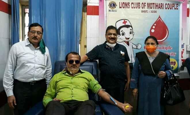 मोतिहारी रेडक्रॉस-भवन में लायंस कपल क्लब द्वारा रक्तदान शिविर का आयोजन