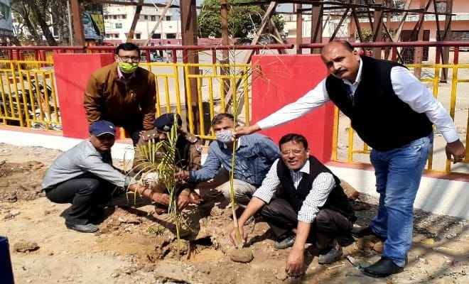भारत विकास परिषद ने रेलवे कैम्पस में बोतल पाम के 15 एवं कचनार के 10 पौधे लगाये